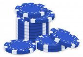 Illustration of a group of blue poker chips on a white background