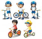 foto of headgear  - Illustration of the kids with their bikes on a white background - JPG