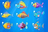 Illustration of a group of beautiful fishes under the sea