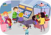 foto of arcade  - Illustration of a Family Enjoying a Day in the Arcade - JPG