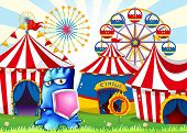 Illustration of a carnival with a blue monster holding a shield