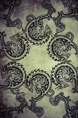 stock photo of gargoyles  - Tattoo pattern with gargoyle designs over vintage paper - JPG