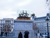 Ship in bottle at Trafalgar Square in front of The National Gallery