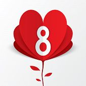 stock photo of applique  - 8 march red paper heart flower Women - JPG