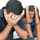 Teenage problems, Sad and worried father after arguing with his teenage daughter