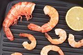 Cooked unshelled shrimps on frying pan.