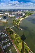 Dusseldorf, Germany, on July 6, 2014. View of Media harbor from a survey platform of a television to