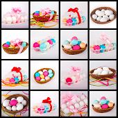 Easter Eggs In A Box And Basket. Collage