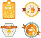 Set of honey and bee labels. product icons