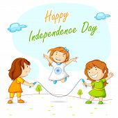 picture of ashok  - vector illustration of kids skipping and celebrating Indian Independence - JPG