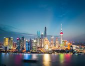 Shanghai Financial District Skyline In Nightfall