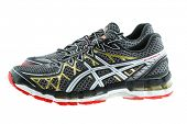 BANGKOK, THAILAND - JULY 2014 : A pair of ASICS Gel Kayano 20 Running shoes for men on 5 July 2014 in Bangkok, Thailand. Kayano 20 is light and has a 2-layered sole with Gel cushioning in the heel.