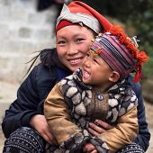Happy Hmong Woman And Child, Sapa, Vietnam