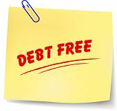 image of debt free  - Vector illustration of debt free message on white background - JPG