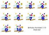 Birthday Numbers 1-10 Male Set