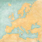 Map Of Europe - Malta (vintage Series)