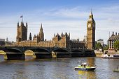 LONDON, UK - JUNE 24, 2014 - Big Ben and Houses of Parliament on Thames river