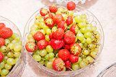Fruits arrangement. Fresh various fruits elegant decoration. Assortment of exotic fruits