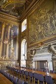 LONDON, UK - JULY 28, 2014: Painted hall in Greenwich. Paintings took for Sir James Thornhill 19 yea