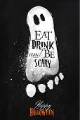 foto of blackboard  - Halloween footprint ghosts on halloween poster lettering eat drink and be scary stylized drawing with chalk on blackboard - JPG