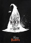 picture of witches  - Witch hat halloween poster lettering not every witch lives in salem stylized drawing with chalk on blackboard - JPG