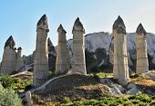 foto of goreme  - Cappadocia Stone columns in Gorcelid Valley near the town Goreme Turkey - JPG