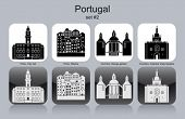 Landmarks of Portugal. Set of monochrome icons. Editable vector illustration.
