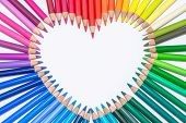 Heart made of Colorful Crayons