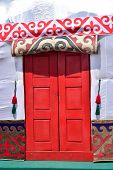 stock photo of yurt  - Entrance to the Kazakh tent called YURT - JPG