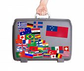 pic of samoa  - Used plastic suitcase with lots of small stickers large sticker of Samoa - JPG