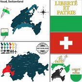 Map Of Vaud, Switzerland
