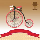 stock photo of penny-farthing  - Vintage Retro Bicycle 1885 Illustration Vector for Use - JPG