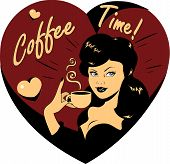 Coffee Lover Vector Poster With Woman And Cup Of Coffee In Hand, Coffee Time  Heart Icon.eps