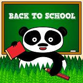 Back to school card with panda