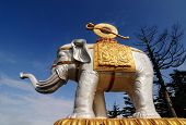 stock photo of emei  - An elephant statue in Emeishan peak - JPG