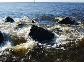 Clear sea water and the big stones