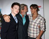 LOS ANGELES - AUG 1:  Cameron Monaghan, Jeff Bridges, Brenton Thwaites at the AARP Luncheon IHO Jeff Bridges at the Spago on August 1, 2014 in Beverly Hills, CA