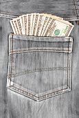 A Hundred Dollar Bills Sticking In The Back Pocket Of Denim Black Jeans