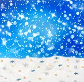 Christmas Snowy Background With Blue Stars And Beads