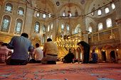 Eyup Sultan Mosque Ritual Of Worship Centered In Prayer, Istanbul, Turkey