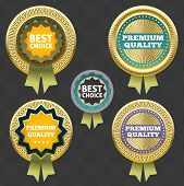 Premium quality and best choice label. Gold vector collection. eps 10