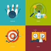 pic of archery  - Set of flat design concept icons for sports kinds - JPG