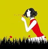 woman and red flower