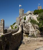Wall of the Castle of the Moors in Sintra, Portugal.