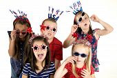 Five Cousins Dressed Patriotic Being Silly With Funny Expressions