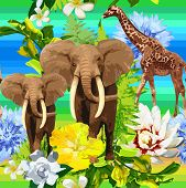 jungle pattern of elephants and exotic flowers