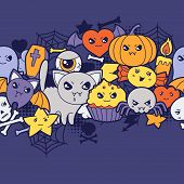 foto of kawaii  - Seamless halloween kawaii pattern with cute doodles - JPG