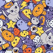 picture of kawaii  - Seamless halloween kawaii pattern with cute doodles - JPG