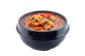 stock photo of kimchi  - kimchi stew kimchi chigae korean cuisine kimchi soup isolate on white background - JPG