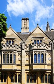 picture of magdalene  - Magdalen College along High Street showing detail of the architecture Oxford Oxfordshire England UK Western Europe - JPG
